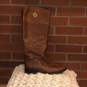 Tory Burch Junction Brown Riding Boots